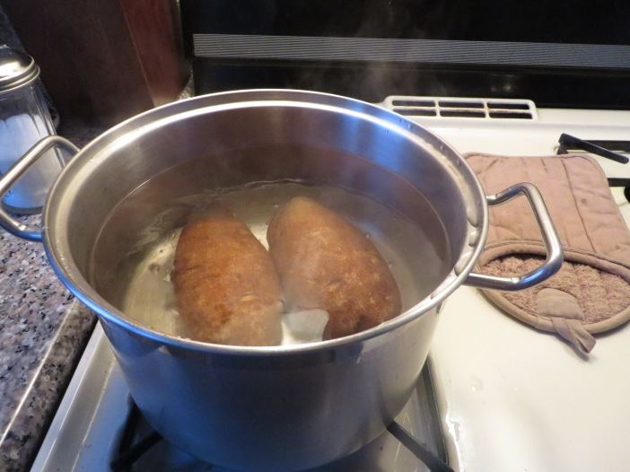 Simmering potatoes.